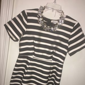 H&M Striped Short Sleeve Pleated Party Dress